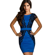 Celeb Style Lace Splicing Slim Fitted Short Bodycon Dress - MeetYoursFashion - 2