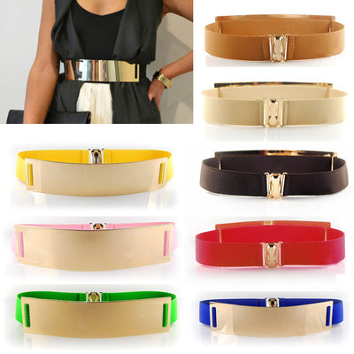 Celebrity Women Metal Elastic Mirror Waistband Wide Belt - MeetYoursFashion - 1