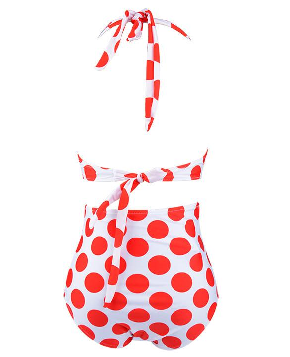 Red Color Polka Dots  High Waist Bikini Set - MeetYoursFashion - 4