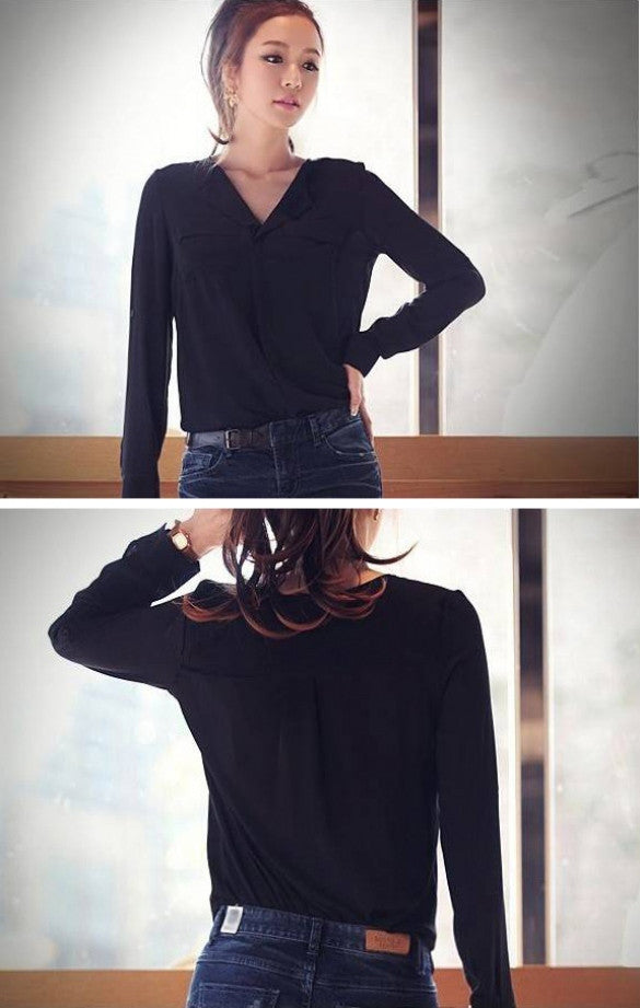 Chiffon Long Sleeve Shirt Tops Blouse - MeetYoursFashion - 7