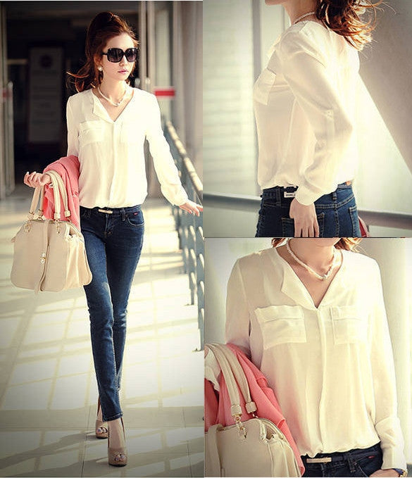 Chiffon Long Sleeve Shirt Tops Blouse - MeetYoursFashion - 6