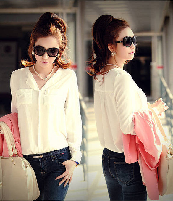 Chiffon Long Sleeve Shirt Tops Blouse - MeetYoursFashion - 5