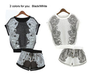 Print T-shirt Shorts Playsuit Activewear Two Pieces Suit - Meet Yours Fashion - 5