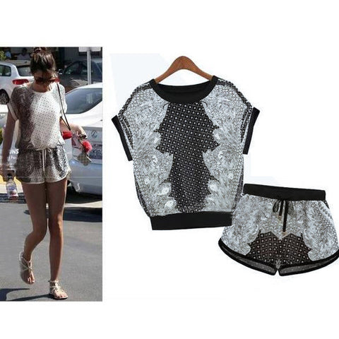 Print T-shirt Shorts Playsuit Activewear Two Pieces Suit - Meet Yours Fashion - 2