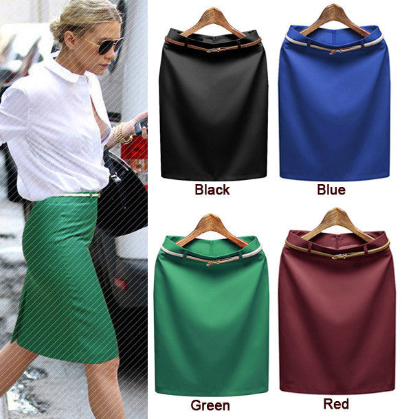 Business Suit Pencil OL Skirts with Belt on - MeetYoursFashion - 4