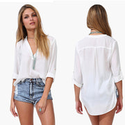Spring Summer Long Sleeve Chiffon V-neck Blouse - MeetYoursFashion - 2