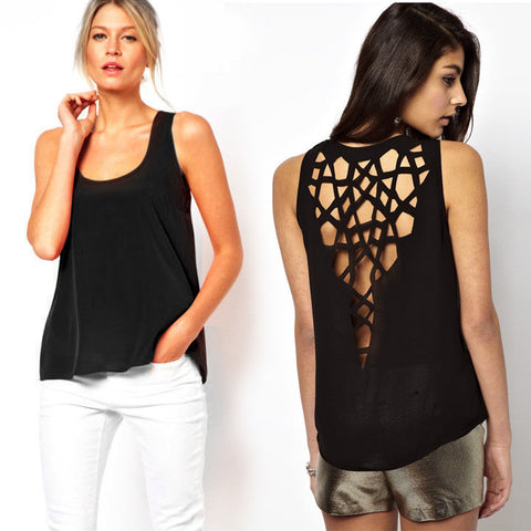 Hollow out Back Round Collar Sleeveless T-shirt Blouse - MeetYoursFashion - 2
