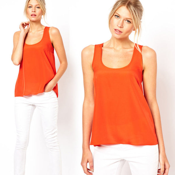 Hollow out Back Round Collar Sleeveless T-shirt Blouse - MeetYoursFashion - 4