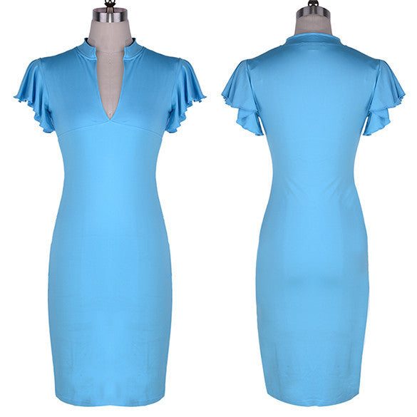 Celebrity Deep V-neck Bodycon Knee-length Tunic Pencil Dress - MeetYoursFashion - 7