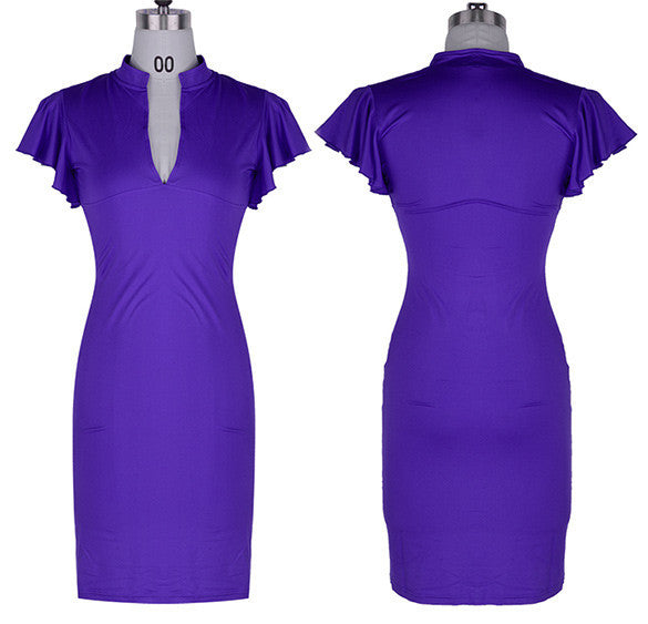 Celebrity Deep V-neck Bodycon Knee-length Tunic Pencil Dress - MeetYoursFashion - 6