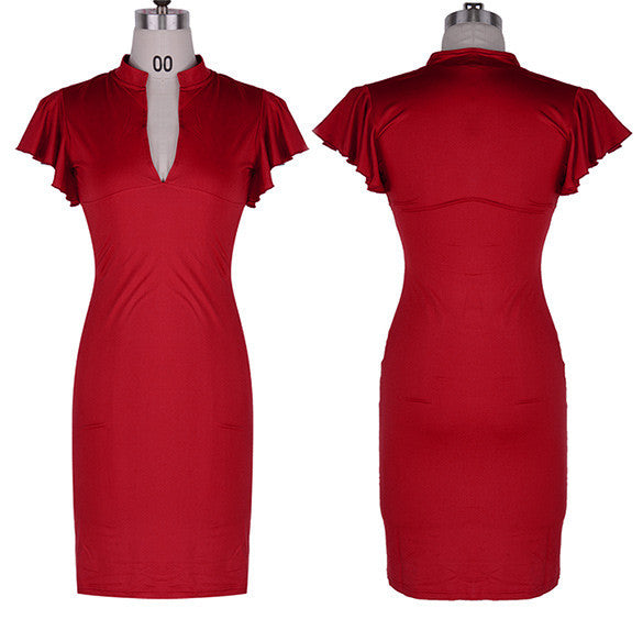 Celebrity Deep V-neck Bodycon Knee-length Tunic Pencil Dress - MeetYoursFashion - 5