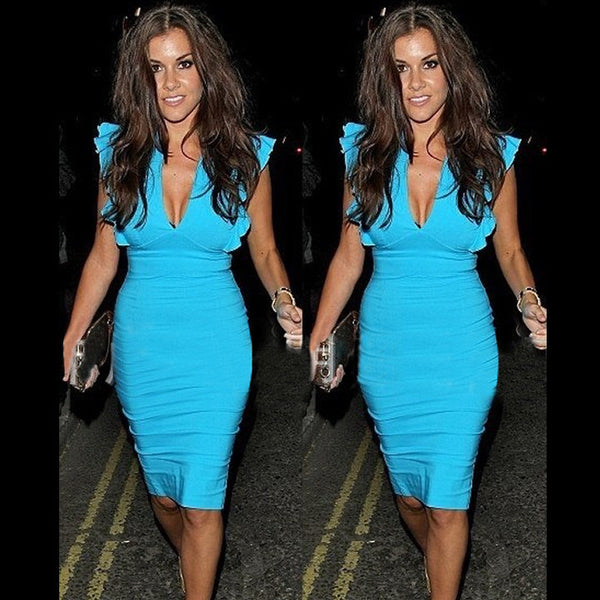 Celebrity Deep V-neck Bodycon Knee-length Tunic Pencil Dress - MeetYoursFashion - 1