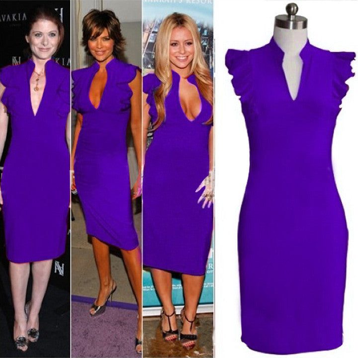 Celebrity Deep V-neck Bodycon Knee-length Tunic Pencil Dress - MeetYoursFashion - 3