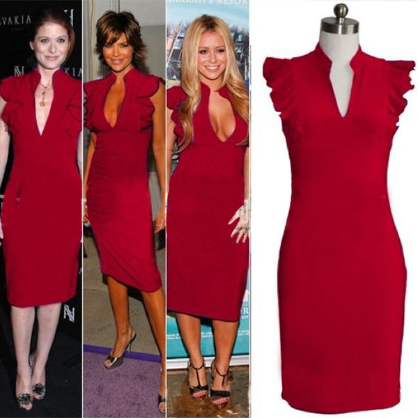 Celebrity Deep V-neck Bodycon Knee-length Tunic Pencil Dress - MeetYoursFashion - 4