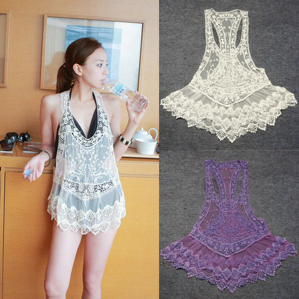 Lace Crochet Hollow Swimwear Bikini Beach Cover Up Dress - MeetYoursFashion - 1