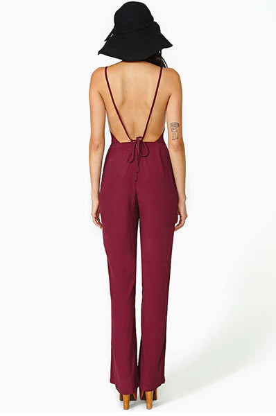 Chiffon Deep V-neck Backless Strap Sleeveless Jumpsuit - MeetYoursFashion - 5