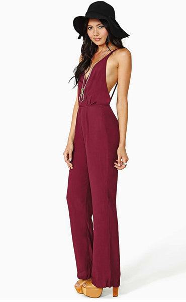 Chiffon Deep V-neck Backless Strap Sleeveless Jumpsuit - MeetYoursFashion - 4