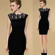 Floral Crochet Stretch Bodycon Knee-length Black Dress - Meet Yours Fashion - 1