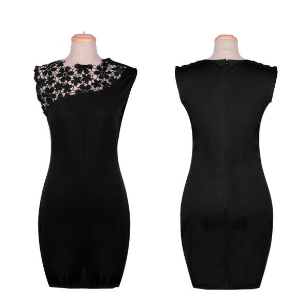 Floral Crochet Stretch Bodycon Knee-length Black Dress - Meet Yours Fashion - 2