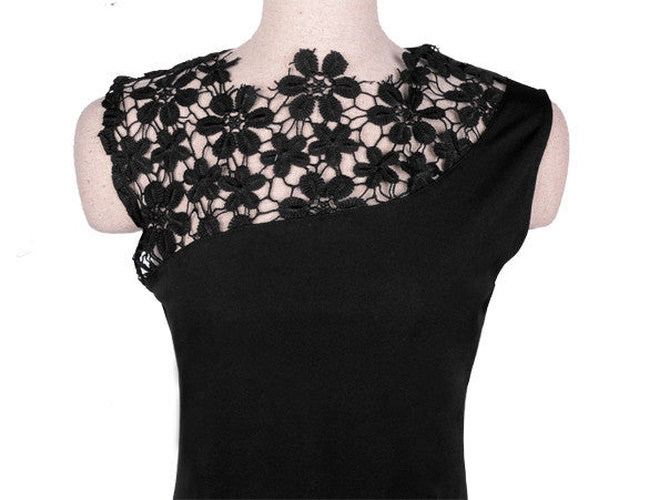 Floral Crochet Stretch Bodycon Knee-length Black Dress - Meet Yours Fashion - 4