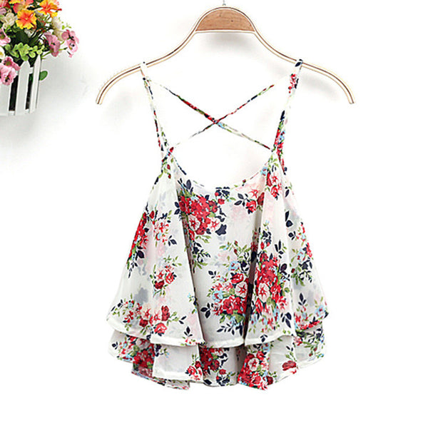 Lace Flower Camie Cotton Tank Top - MeetYoursFashion - 3