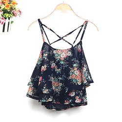 Lace Flower Camie Cotton Tank Top - MeetYoursFashion - 2