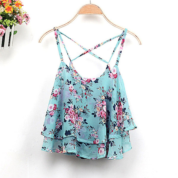 Lace Flower Camie Cotton Tank Top - MeetYoursFashion - 4