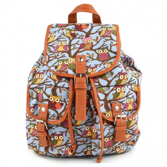 Women Cute Cartoon Owls Pattern Canvas Backpack Shoulder Bag Students Schoolbag Book Bag - Meet Yours Fashion - 4