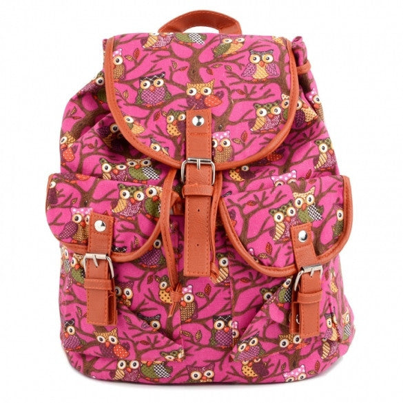 Women Cute Cartoon Owls Pattern Canvas Backpack Shoulder Bag Students Schoolbag Book Bag - Meet Yours Fashion - 5
