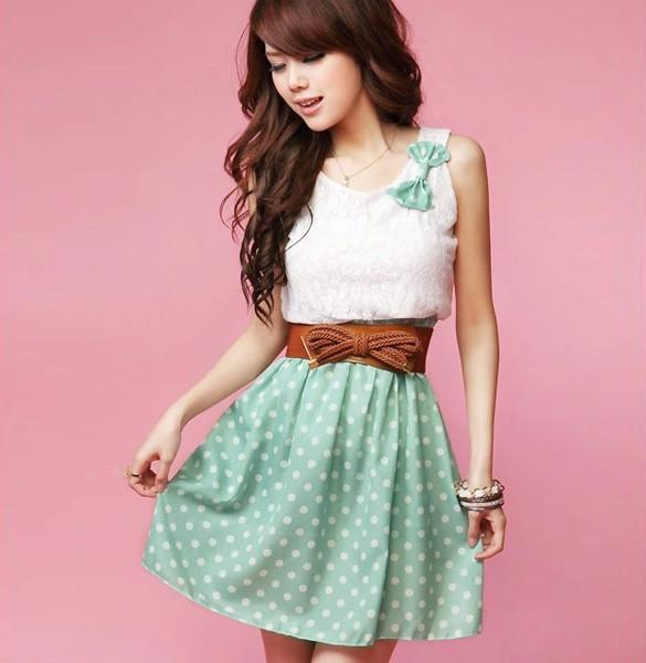 Polka Dot Sweet Lovely Lace Mini Belt Dress - MeetYoursFashion - 1