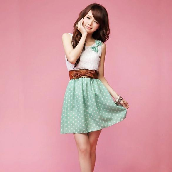Polka Dot Sweet Lovely Lace Mini Belt Dress - MeetYoursFashion - 4