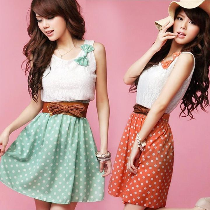 Polka Dot Sweet Lovely Lace Mini Belt Dress - MeetYoursFashion - 2