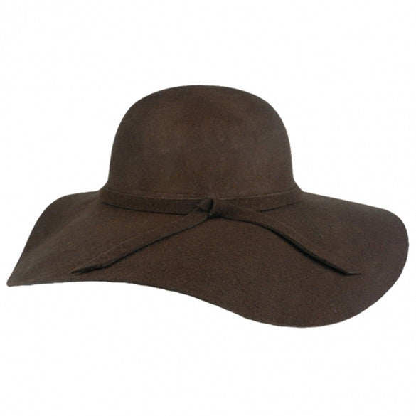 756bbd0c7ca New Fashion Vintage Black Wide Brim Wool Felt Bowler Fedora Hat Floppy  Cloche