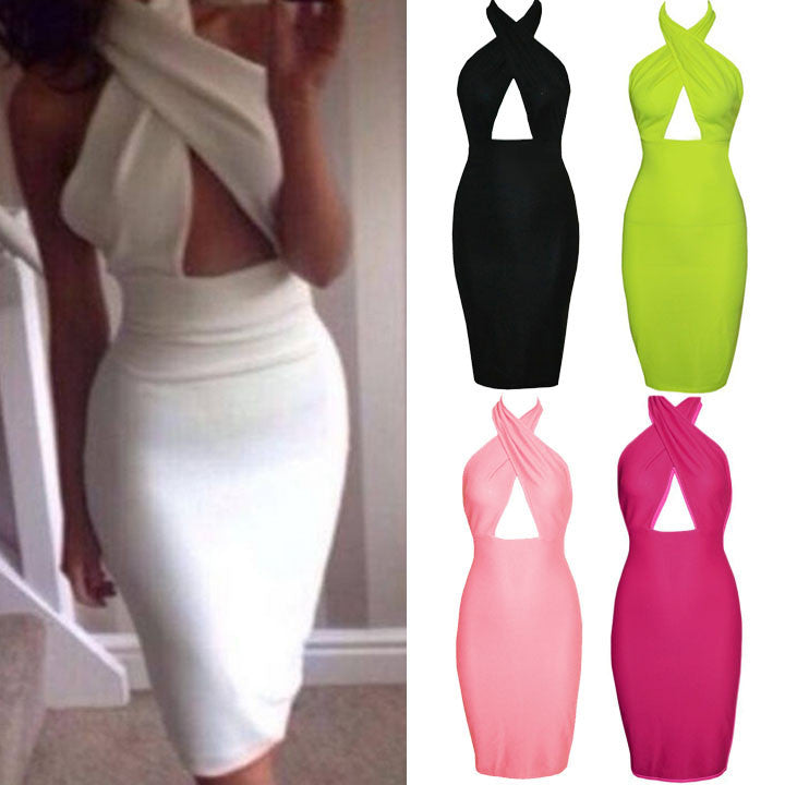 Hollow Chest Backless Bodycon Slim Dress - MeetYoursFashion - 1