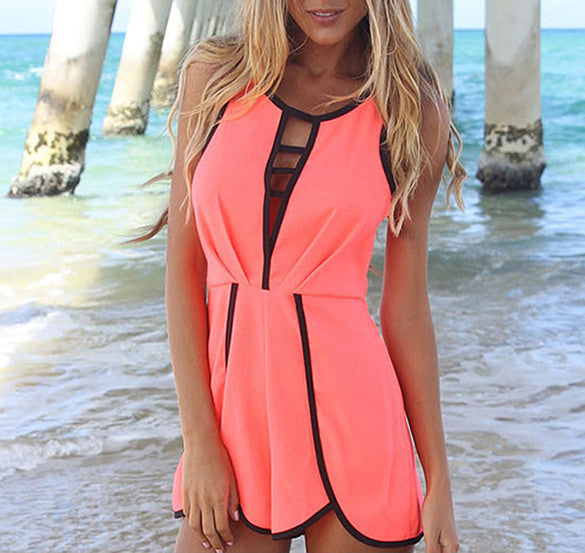 V Hollow Playsuit Party Short Jumpsuit - Meet Yours Fashion - 2