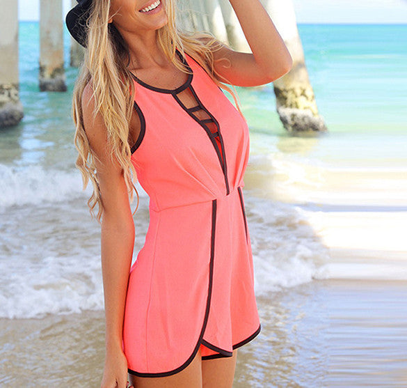 V Hollow Playsuit Party Short Jumpsuit - Meet Yours Fashion - 4