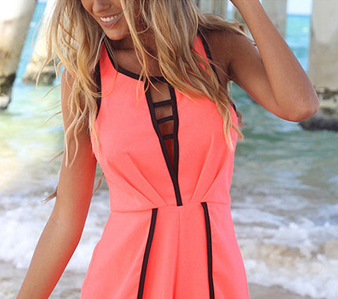 V Hollow Playsuit Party Short Jumpsuit - Meet Yours Fashion - 5