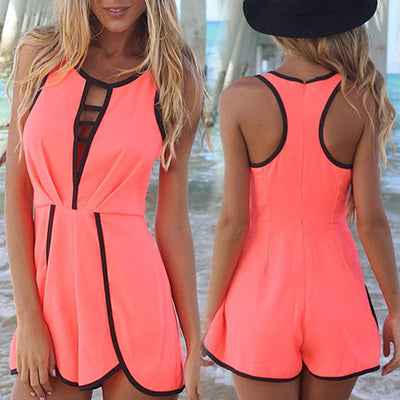 V Hollow Playsuit Party Short Jumpsuit - Meet Yours Fashion - 1