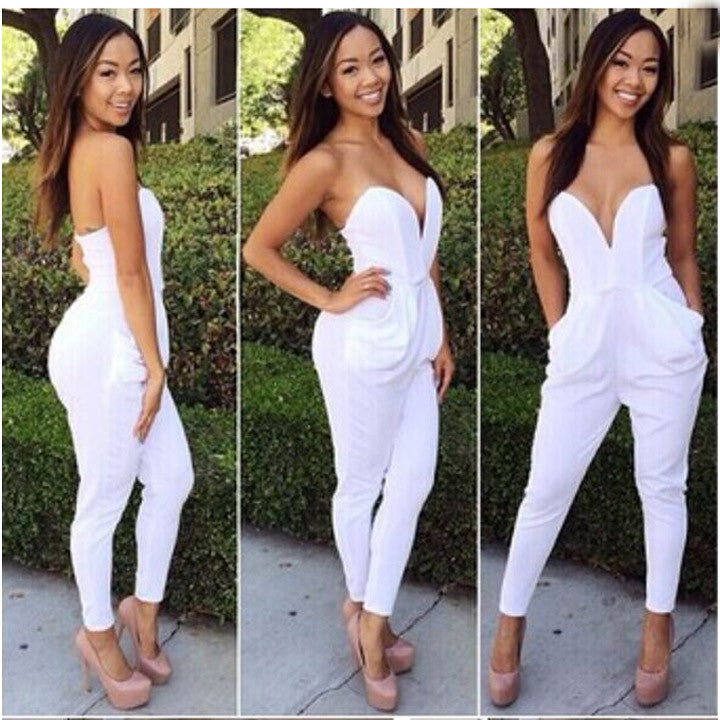 V Neck Sleeveless Bodycon Jumpsuit Romper - Meet Yours Fashion - 2
