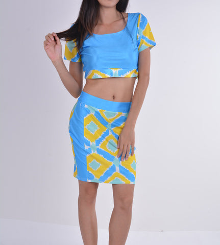 Two Pieces Club Bandage Crop Top and Skirt Dress Set - Meet Yours Fashion - 3