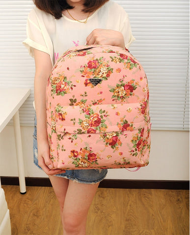 Canvas Flower Rucksack School Backpack Bag - MeetYoursFashion - 9