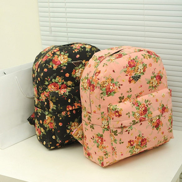 Canvas Flower Rucksack School Backpack Bag - MeetYoursFashion - 11