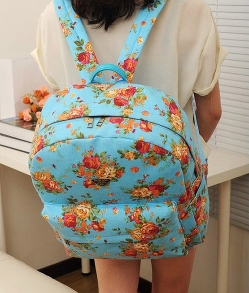 Canvas Flower Rucksack School Backpack Bag - MeetYoursFashion - 7