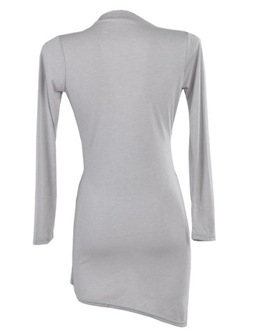Long Sleeve Deep-V Neck Package Irregular Hip Dress - MeetYoursFashion - 3
