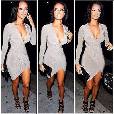 Long Sleeve Deep-V Neck Package Irregular Hip Dress - MeetYoursFashion - 1