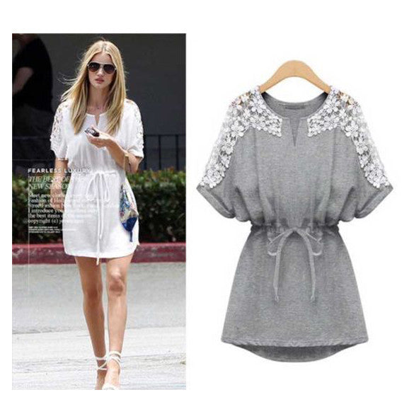 Crew Neck Floral Mini Lace Dress - MeetYoursFashion - 2