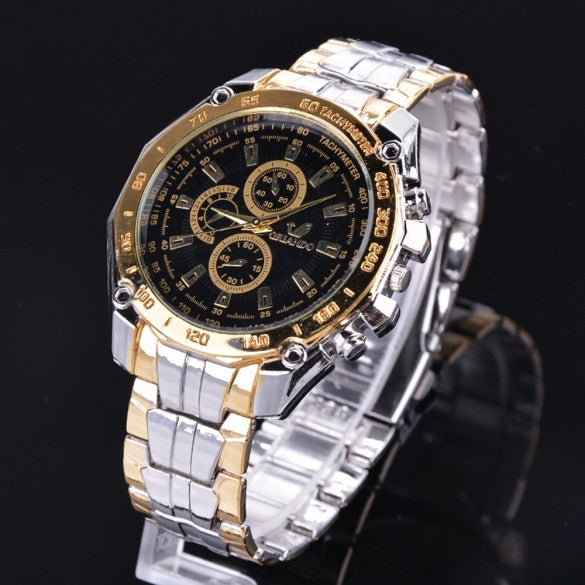 Fashion Stainless Steel Luxury Sport Analog Quartz Clock Men's Wrist Watch - Meet Yours Fashion - 1