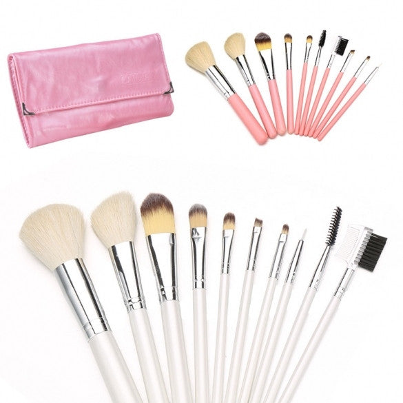 10pcs Cream Color Eyeshadow Blush Cosmetic Makeup Brush Set High Quality+Case