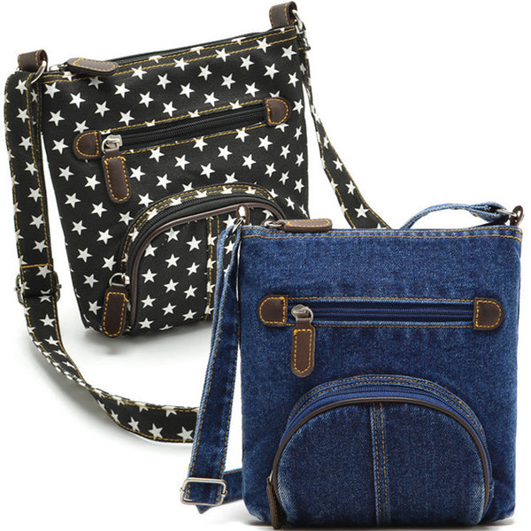 Unisex Women Blue Denim Shoulder Bag Jean Purse Vintage Cross Bag Handbag - Meet Yours Fashion - 1