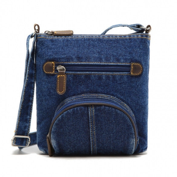 Unisex Women Blue Denim Shoulder Bag Jean Purse Vintage Cross Bag Handbag - Meet Yours Fashion - 2
